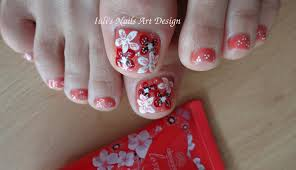 toes art design spring summer flowers free hand painted beginners