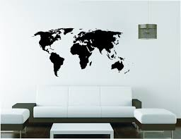 World Map Stencil Extra Large World Map Wall Sticker Vinyl Decal Wall Tattoo