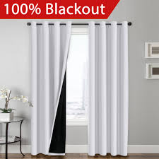 Insulated Window Curtains Flamingop Blackout White Curtains Faux Silk Satin With Black