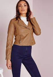 racing biker jacket missguided faux leather biker jacket with faux fur collar tan in