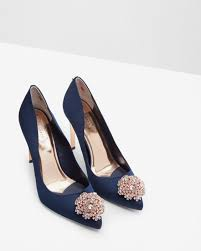 Wedding Shoes Ted Baker Brooch Detail Court Shoes Navy Shoes Ted Baker