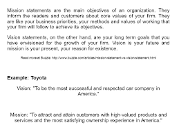 toyota products and services mission statements and vision statements unleashing purpose ppt
