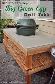 kamado joe grill table plans diy big green egg table with concrete top gray table home