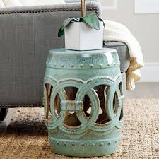 Shabby Chic Patio Decor by Details About Ceramic Garden Stool Teal Glass Rustic Shabby Chic