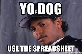 Yo Dog Meme - yo dog use the spreadsheet eazy ee meme generator