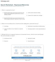 quiz u0026 worksheet repressed memories study com