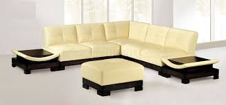 Contemporary Leather Sectional Sofa by Light Beige Modern Leather Sectional Sofa W Built In Side Tables