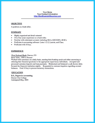 A Job Resume Sample by Learning To Write From A Concise Bank Teller Resume Sample