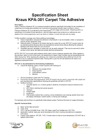 specification sheet kraus kpa 301 carpet tile