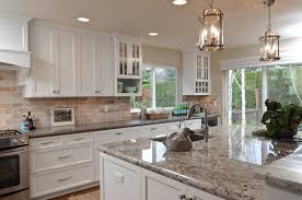 Backsplash For White Kitchens White Painted Shaker Kitchen Cabinets Granite Island Grey Quartz