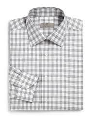 canali glen plaid dress shirt in gray for men lyst