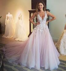multi color wedding dress multicolor wedding dresses light pink tulle v neck appliques