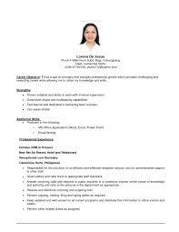 resume exles for any exles resume career objectives krida info