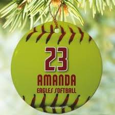 Softball Christmas Ornament - personalize this ornament with your name and position christmas