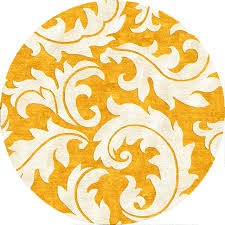 Rug Gold Abstract Pattern Gold Yellow Wool Silk Tufted Rug Contemporary