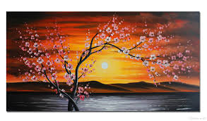2018 unframed large flower oil painting on canvas one panel 100 hand painted cherry blossom painting modern wall art decor 120cmx60cm from jack92
