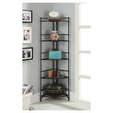 Target Corner Bookcase 5 Tier Folding Metal Corner Shelf Convenience Concepts Target