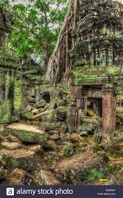 high dynamic range hdr image of ancient ruins with trees ta