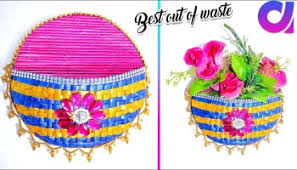 Best Out Of Waste Flower Vase Diy Wall Hanging Decor From Old Waste Bangles Wall Decor Best