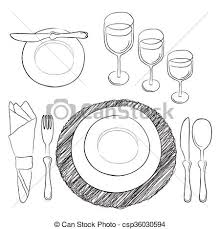 Casual Table Setting Eps Vectors Of Vector Table Setting White And Clear Tableware And