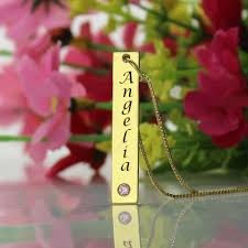 Gold Name Bar Necklace Name Tag Bar Necklace In Gold