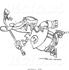 vector of a cartoon leaping hockey player outlined coloring page