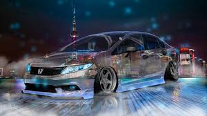 tuner honda civic honda civic jdm tuning crystal city night neon fog smoke car 2017