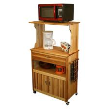 Microwave Storage Cabinet Natural Wooden Finishing Microwave Cart With Open And Closed