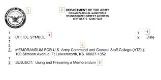 army memorandum writing joining the army hq