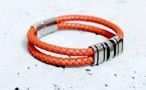 multi metal bracelet images Orange spice multi layer leather steel bracelet customisable jpg