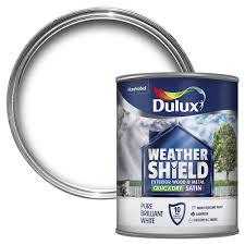 dulux weathershield exterior pure brilliant white satin wood