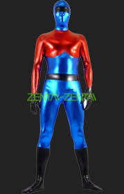 blue and red shiny metallic full body suit zentai suit jpg