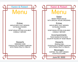 menu templates templates for microsoft word