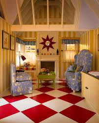 playhouse cafe curtains checkerboard floor and striped walls