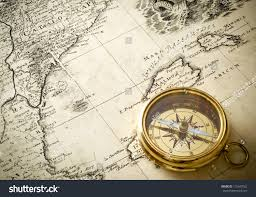 Compass Map Old Compass On Vintage Map 1732 Stock Photo 115647562 Shutterstock