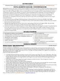Marketing Executive Resume Samples Free by Outstanding Digital Marketing Manager Resume 92 For Resume