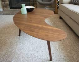 kidney bean shaped table mid century modern coffee table walnut kidney bean extra large