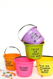 diy pun trick or treat candy buckets on design sponge