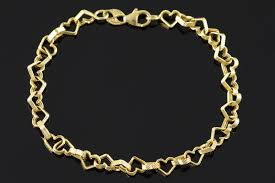 heart links bracelet images 14k 2 5g textured heart link yellow gold bracelet 6 6 quot property room jpg