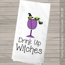 halloween kitchen towel drink up witches tea towel flour sack