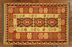 Multi Color Area Rugs New Oriental 3x5 Hand Knotted Wool Kilim Navajo Design Multi Color