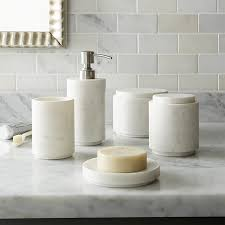 marble bathroom set graydon marble bath accessories crate and barrel