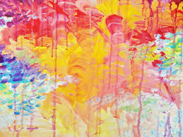 bold colors lovely abstract free shipping acrylic painting sun rain shower