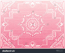 Pink Oriental Rug Vector Drawing Pink White Stencil Persian Stock Vector 367773197