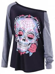 dark grey 2xl halloween plus size raglan sleeve skull t shirt