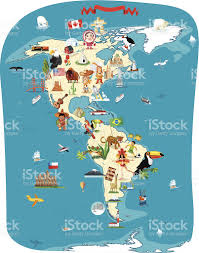 Map Of Americas Cartoon Map Of America Stock Vector Art 159228393 Istock