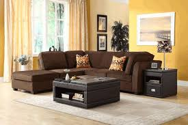 leather livingroom sets brown sitting room black wooden laminate shelves warm brown rug