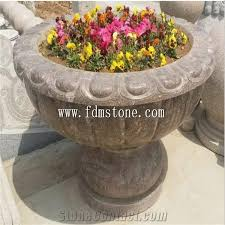 Decorative Indoor Planters Lanscaping Garden Stone Planters China Stone Flower Pots Vase