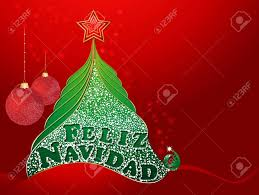 feliz navidad christmas card christmas card with tree and with merry christmas in