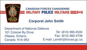 Free Military Business Cards Policebusinesscards Display Business Cards I Love Canada Canadian